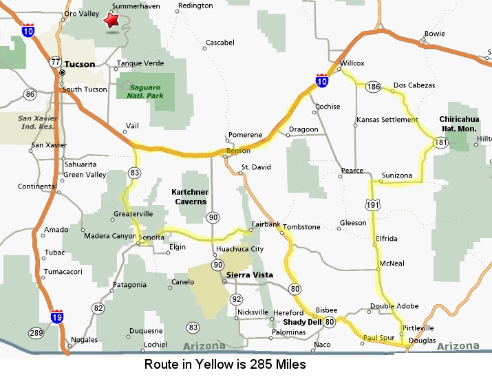 Map of Southeast Arizona